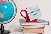 Writing note showing Bankruptcy Law. Business photo showcasing Designed to help creditor in getting the asset of the debtor Globe map world earth cup blank sticky note stacked books wooden table. poster
