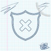 Shield and cross x mark line sketch icon isolated on white background. Denied disapproved sign. Protection, safety, security concept. Vector Illustration poster