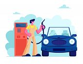 Gas Station Worker Hold Filling Gun for Pouring Fuel Into Car. Employee in Workwear at Petroleum Station Refueling Automobile, Transport Gasoline Service for Drivers. Cartoon Flat Vector Illustration poster