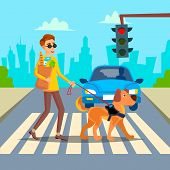 Blind Man . Young Person With Pet Dog Helping Companion. Disability Socialization Concept. Blind Person And Guide Dog On Crosswalk. Character Illustration poster