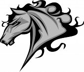 Graphic Mascot Vector Image of a Mustang Bronco Horse poster