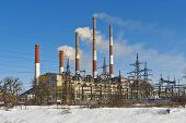 Zmievskaya thermal power station. The company Centrenergo. Kharkiv region. Ukraine. poster