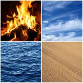 Four elements of nature. Fire water air and earth. poster