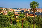 Florence, Italy. View on Florence from green garden Giardino delle Rose. Firenze city landscape poster