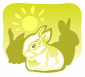 Three rabbits and sun on a green background. poster