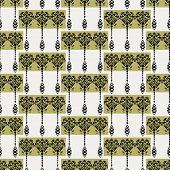 Art Nouveau flower motif Jugendstil style. Vector seamless pattern. Retro arabesque damask textiles swatch. Decorative arts crafts ornamental home decor. Modernist monochrome floral all over print. poster