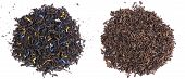 Two kinds of aromatic black tea leaves - pu-erh and tea with sunflower and cornflower petal poster