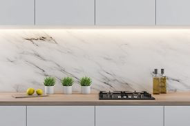 White Marble Kitchen With Gray Countertops