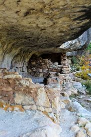 Native American Mountain Side Dwelling In Walnut Canyon National Monument In Flagstaff Arizona