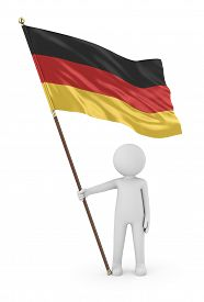 German Patriot Stickman Holding National Flag Of The Federal Republic Of Germany 3d Illustration On