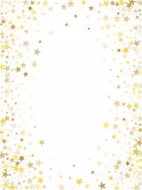 Gold Flying Stars Confetti Magic Holiday Frame Vector, Premium Sparkles Stardust Border Background.