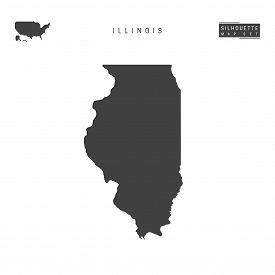 Illinois Us State Blank Vector Map Isolated On White Background. High-detailed Black Silhouette Map