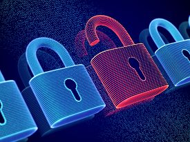Data Security And Privacy Concept: Opened Padlock On Digital Screen Background. Visualization Of Per