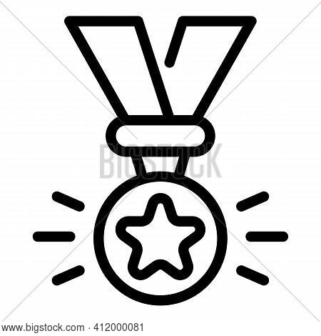 Competition Medal Icon. Outline Competition Medal Vector Icon For Web Design Isolated On White Backg