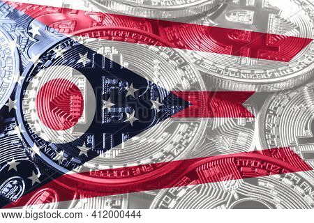 Ohio Bitcoin Flag, Ohio Cryptocurrency Concept Background