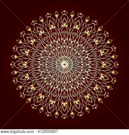 Circular Multi-leaf Mandala. Suitable For Laser Cutting Or Foiling. One-line Vector