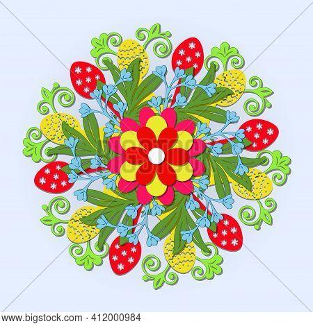 3d Mandala. Layered Decorative Mandala For Easter