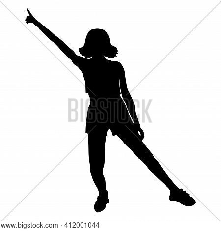 Silhouette Of A Sportive Girl With A Raised Hand Indicating The Direction.