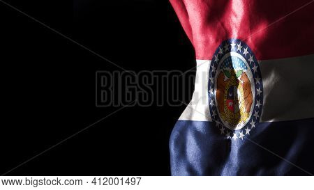 Missouri Flag On Abs Muscles, Missouri Bodybuilding Concept, Black Background