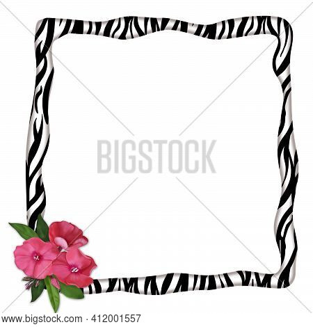Square Frame With Wavy Edges With Zebra Print And Delicate Pink Flowers.