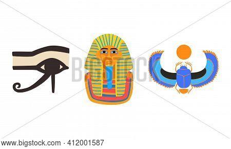 Famous Symbols Of Ancient Egypt, Tutankhamen Pharaoh Mask, Eye Of Horus, Scarab Cartoon Vector Illus