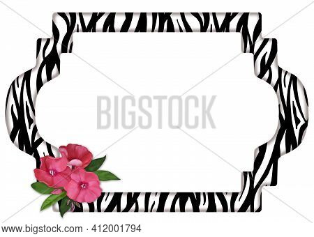 Horizontal Romantic Zebra Skin Print Frame Decorated With Delicate Pink Flowers.