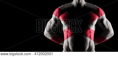 Alabama Flag On Muscled Male Torso With Abs, Alabama Bodybuilding Concept, Black Background