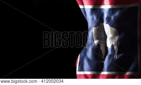Wyoming Flag On Abs Muscles, Wyoming Bodybuilding Concept, Black Background
