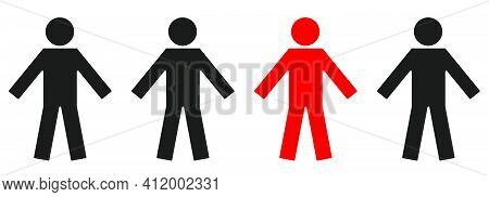 Individuality Concept. One Individual Red Man With Different Black. Vector Illustration..