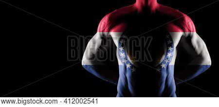Missouri Flag On Muscled Male Torso With Abs, Missouri Bodybuilding Concept, Black Background