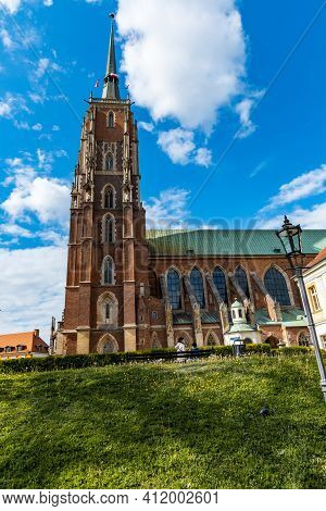 Wroclaw, Poland - May 3 2020: Side View To Tower Of Cathedral Of St. John The Baptist