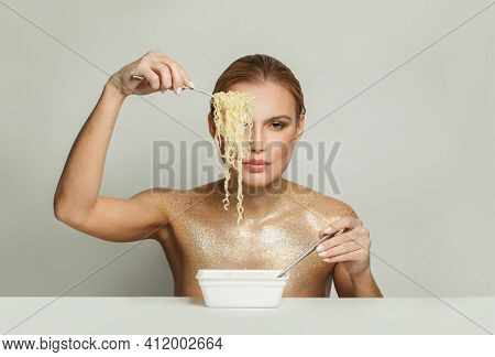 Glamorous Celebrity Woman Eating Instant Noodles On White Background