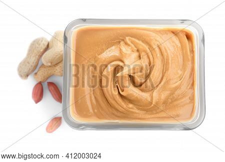Delicious Peanut Butter In Bowl Isolated On White, Top View