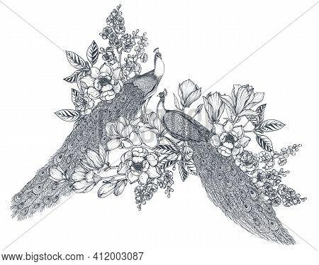 Vector Bouquet Of Hand Drawn Peacocks, Doodle Magnolia And Sakura Flowers. Beautiful Romantic Elegan