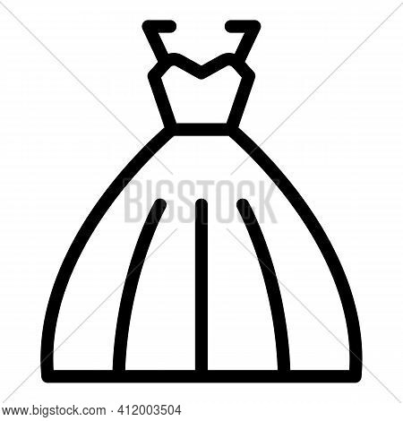 Bride Dress Icon. Outline Bride Dress Vector Icon For Web Design Isolated On White Background