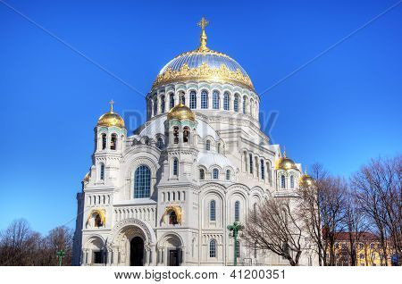 The Naval cathedral of Saint Nicholas in Kronstadt at the island Kotlin near the Saint Petersburg, Russia poster