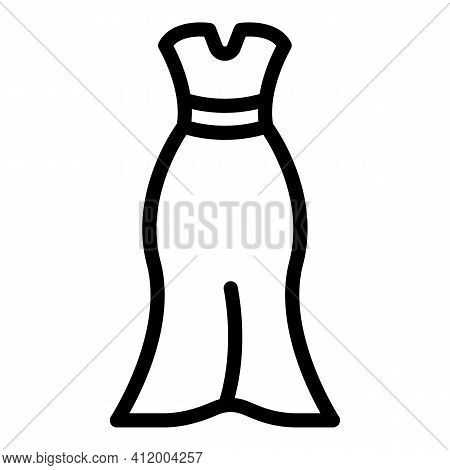 Wedding Dress Clothing Icon. Outline Wedding Dress Clothing Vector Icon For Web Design Isolated On W