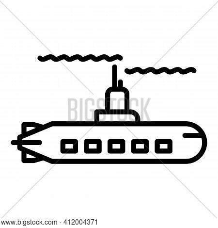 Military Submarine Icon. Outline Military Submarine Vector Icon For Web Design Isolated On White Bac