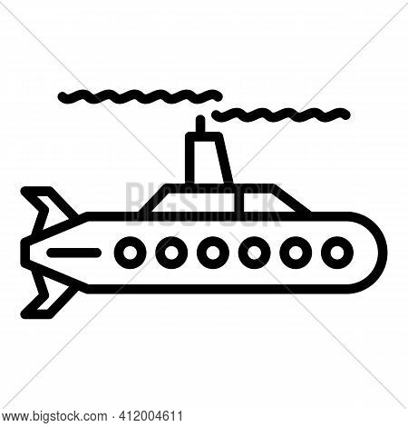 Deep Submarine Icon. Outline Deep Submarine Vector Icon For Web Design Isolated On White Background