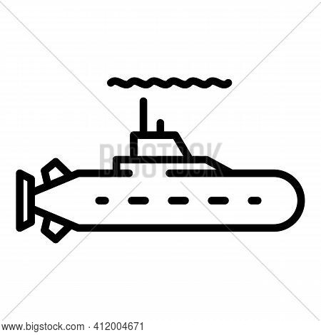 Navy Submarine Icon. Outline Navy Submarine Vector Icon For Web Design Isolated On White Background