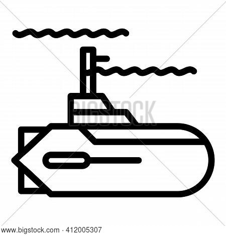 Defence Submarine Icon. Outline Defence Submarine Vector Icon For Web Design Isolated On White Backg