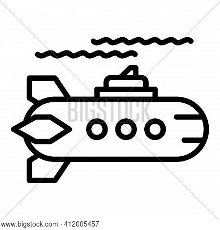 Weapon Submarine Icon. Outline Weapon Submarine Vector Icon For Web Design Isolated On White Backgro