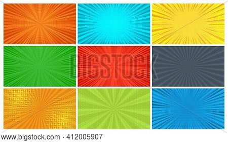 Set Of Nine Comic Book Pages Backgrounds In Pop Art Style With Empty Space. Template With Rays, Dots
