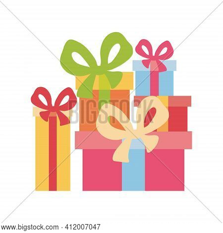 Big Pile Of Colorful Wrapped Gift Boxes. Mountain Gifts. Beautiful Present Box With Overwhelming Bow