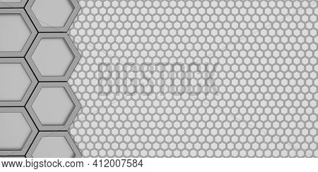 Geometric Hexagon Polygon Pattern Glossy Hexagonal Honeycomb 3d Illustration Hexagonal Frame Futuris