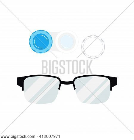Contact Lenses With Case And Eye Glasses Icon Set Isolated On White Background. Flat Cartoon Style D
