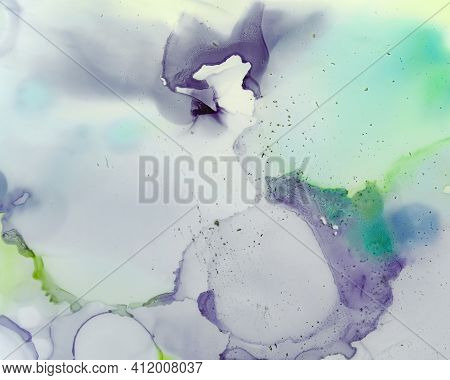 Ethereal Art Pattern. Liquid Ink Wash Background. Purple Creative Stains Splash. Sophisticated Flow