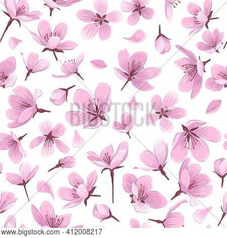 Cherry Blossom Flowers Vector Seamless Pattern. Pink Blossom Flowers On White Background. Gentle Spr
