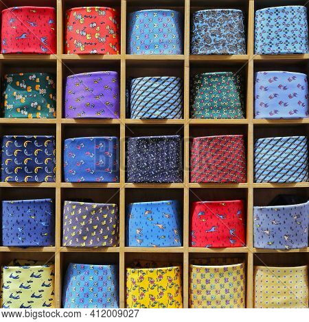 Modern Silk Ties Collection In Square Rack
