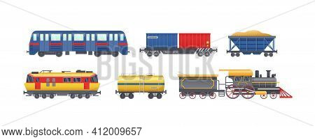 Set Of Freight Train With Wagons, Tanks, Freight, Cisterns. Railway Locomotive Train With Oil Wagon,